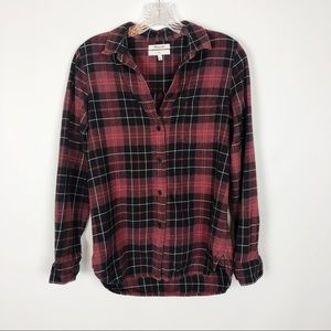Madewell/Flannel slim fit plaid red shirt